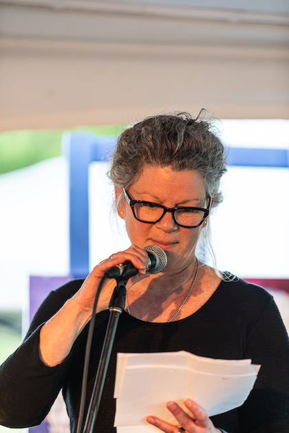 France Mongeau reading a poem : Picture Danny Landry
