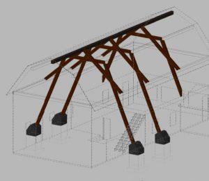 (Dessin du plan de CTD inc.) Des pilastres de béton extérieurs serviront de base pour les nouvelles arches de bois lamellé-collé.